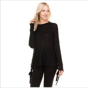 Grommet Lace Up Ribbed Top